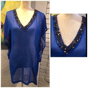 Aqua Blue Sheer Swimsuit Cover-up